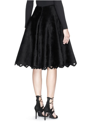 Back View - Click To Enlarge - Alaïa - 'Trigone' zigzag hem velour flared midi skirt
