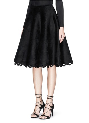 Front View - Click To Enlarge - Alaïa - 'Trigone' zigzag hem velour flared midi skirt