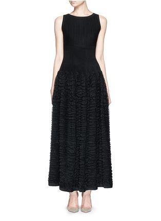 Main View - Click To Enlarge - Alaïa - 'Libellule' frill mesh knit maxi dress