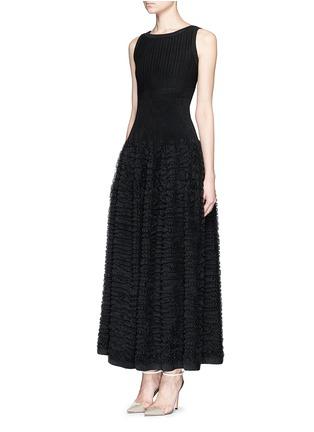 Figure View - Click To Enlarge - Alaïa - 'Libellule' frill mesh knit maxi dress