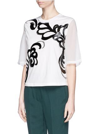 正面 -点击放大 - 3.1 PHILLIP LIM - Fern foil print cropped T-shirt