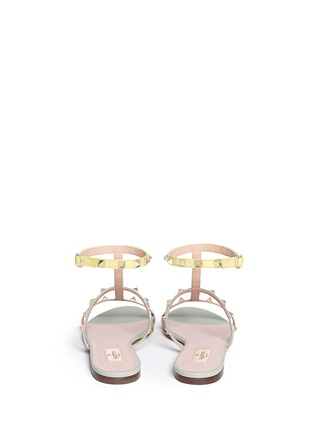 Back View - Click To Enlarge - Valentino - 'Rockstud' strap leather sandals