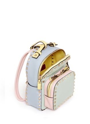 Detail View - Click To Enlarge - Valentino - 'Rockstud' mini watercolour leather backpack