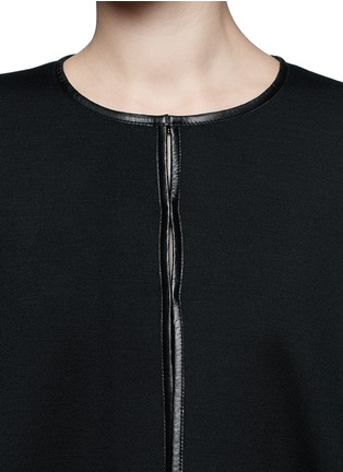 Detail View - Click To Enlarge - ST. JOHN - Leather trim cape jacket