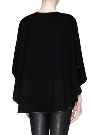 Back View - Click To Enlarge - ST. JOHN - Leather trim cape jacket