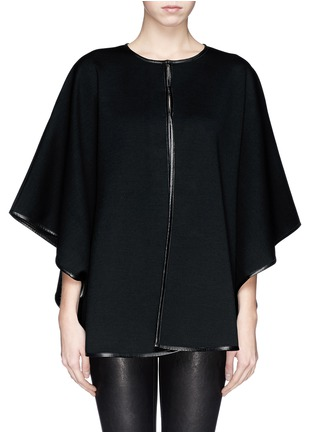 Main View - Click To Enlarge - ST. JOHN - Leather trim cape jacket