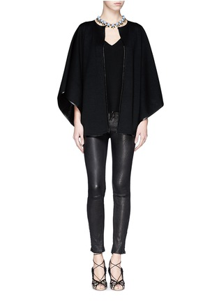 Figure View - Click To Enlarge - ST. JOHN - Leather trim cape jacket