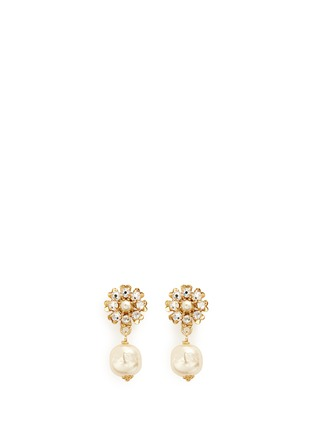 Main View - Click To Enlarge - Miriam Haskell - Crystal daisy stud Baroque pearl earrings