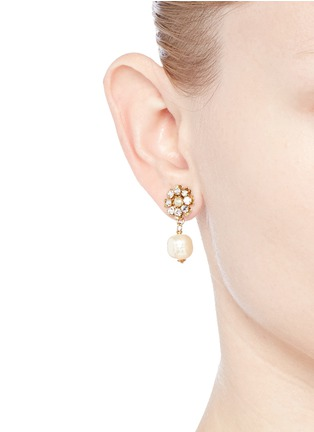 Figure View - Click To Enlarge - Miriam Haskell - Crystal daisy stud Baroque pearl earrings