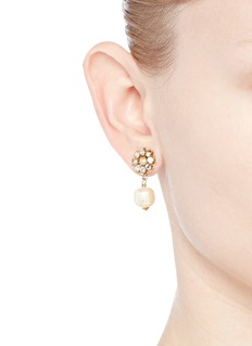 Miriam Haskell Crystal daisy stud Baroque pearl earrings