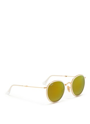 Figure View - Click To Enlarge - Ray-Ban - 'Round Folding Flash' mirror sunglasses