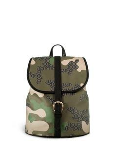 MISCHACamouflage hexagon print backpack
