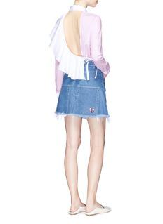 Sandy Liang'Break Up' frayed hem denim skirt