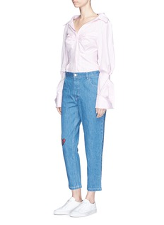 Sandy Liang Broken heart patch cropped boyfriend jeans