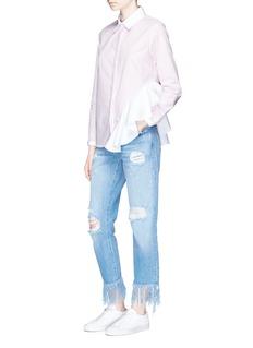 Sandy Liang'Gemini' ruffle side strip poplin shirt