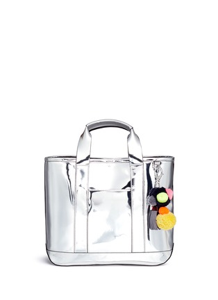 Main View - Click To Enlarge - Rebecca Minkoff - 'Sofia' pompom keyring mirror leather tote