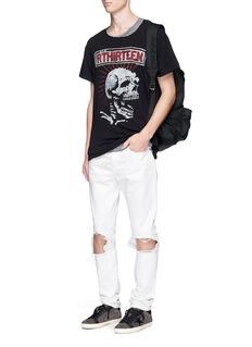 R13'RTHIRTEEN' skull print slub jersey T-shirt