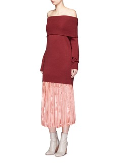 Tibi'Flume Sunray' metallic plissé pleat midi skirt