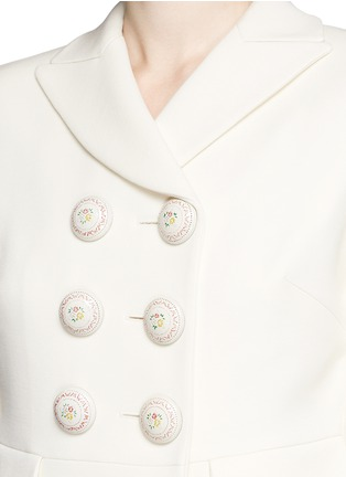 Detail View - Click To Enlarge - Alexander McQueen - Enamelled flower button wool-silk double breasted coat