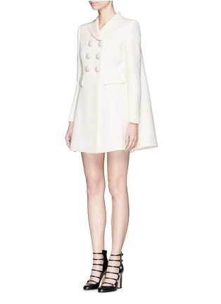 Front View - Click To Enlarge - Alexander McQueen - Enamelled flower button wool-silk double breasted coat