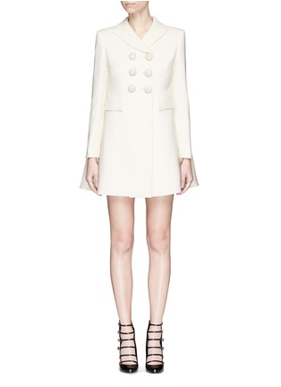 Main View - Click To Enlarge - Alexander McQueen - Enamelled flower button wool-silk double breasted coat