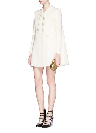 Figure View - Click To Enlarge - Alexander McQueen - Enamelled flower button wool-silk double breasted coat