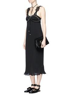 3.1 Phillip LimZip ruffle plissé pleat crepe dress