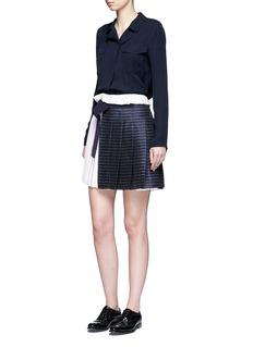 VICTORIA, VICTORIA BECKHAMPinstripe pleat linen-cotton mini skirt
