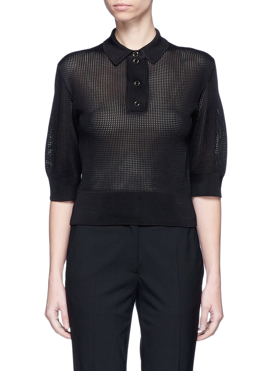 Textured knit polo top by Lanvin