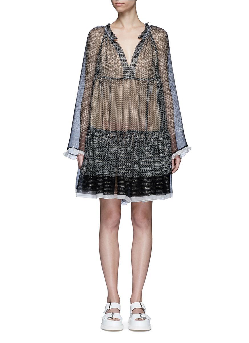 stella mccartney female star print ruffle trim chiffon dress