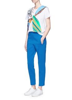 Emilio Pucci'Vortici' stripe twist front cotton T-shirt
