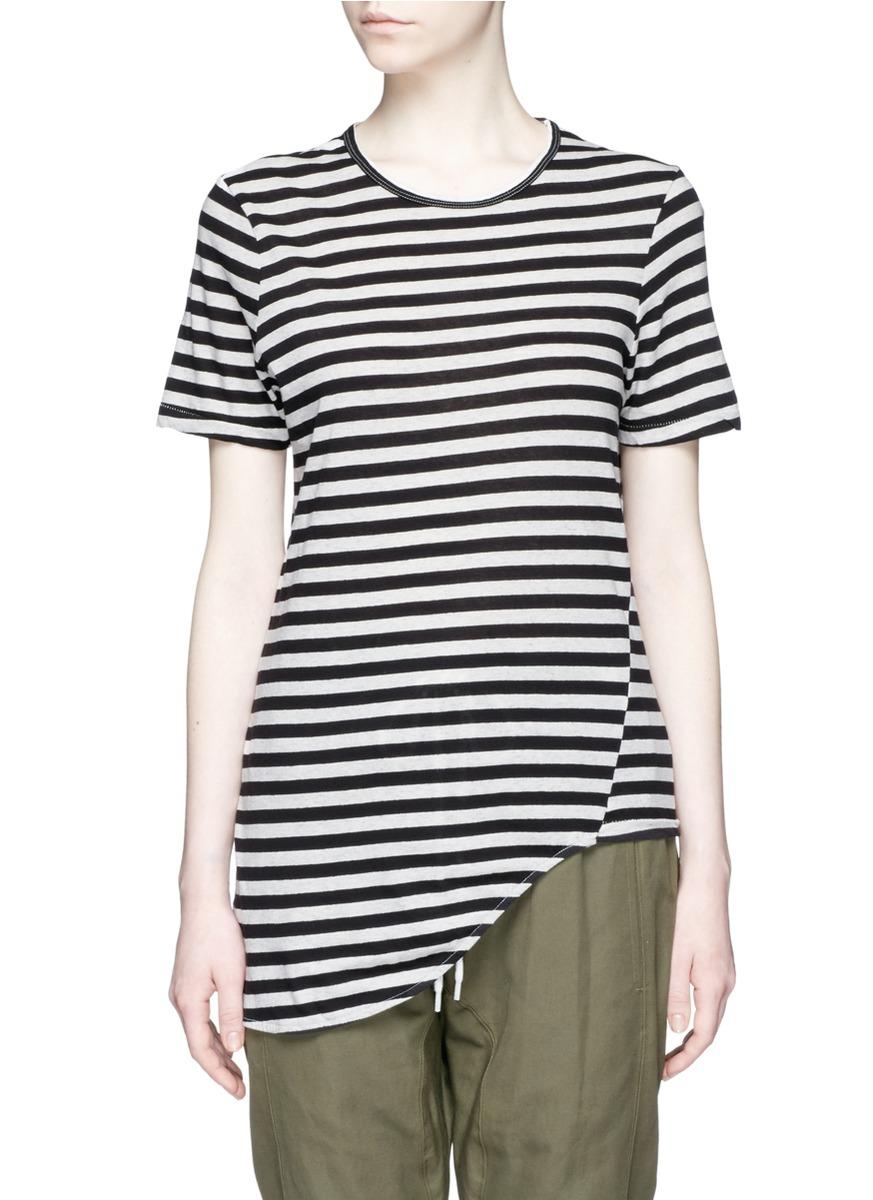Stripe organic cotton asymmetric T-shirt by bassike