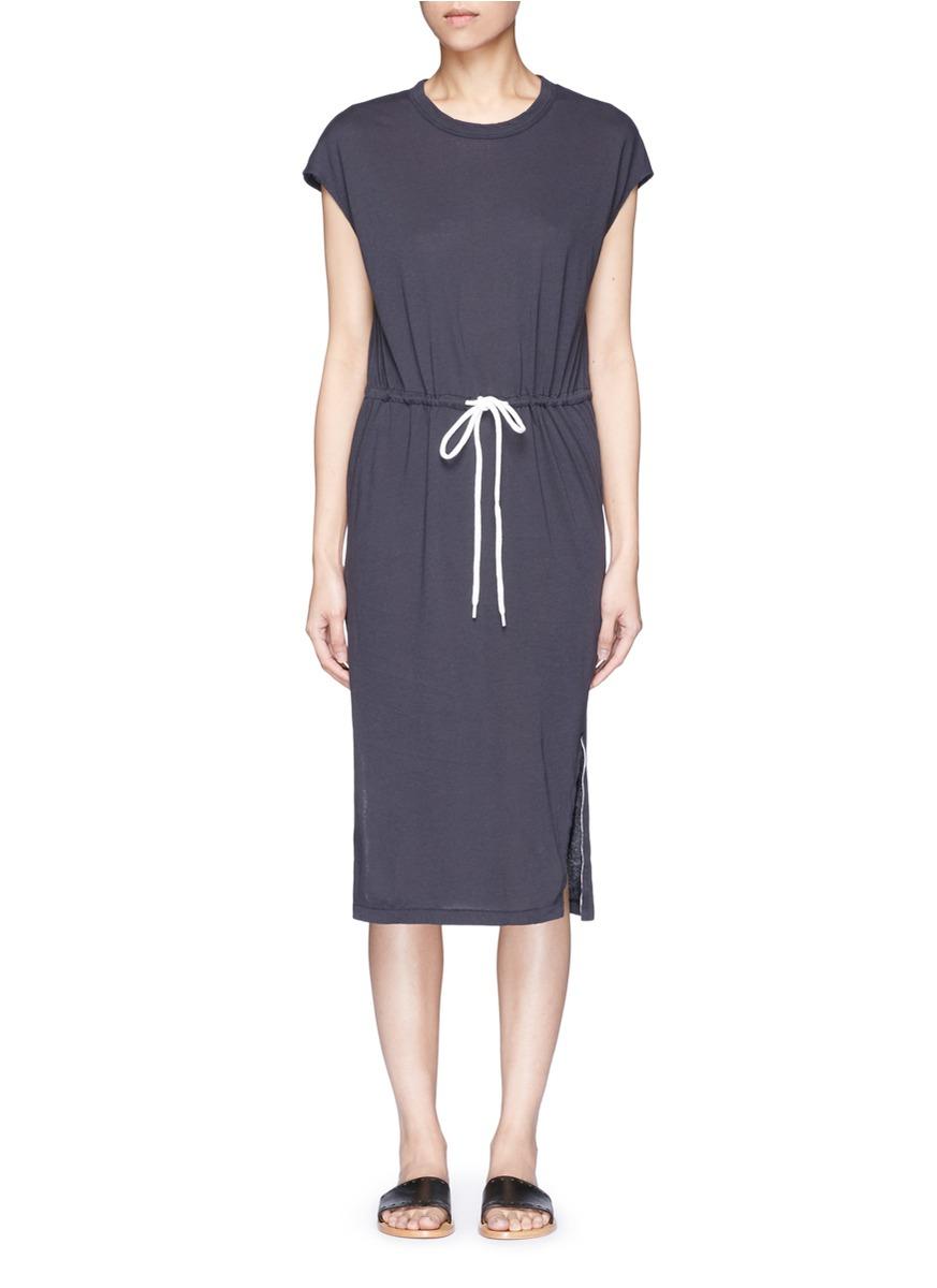 Drawstring waist split hem jersey dress by bassike