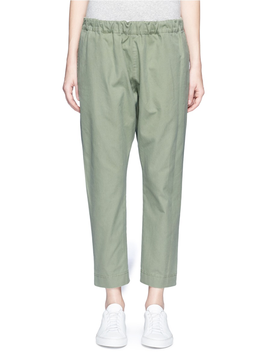 Shoelace drawcord canvas cropped pants by bassike