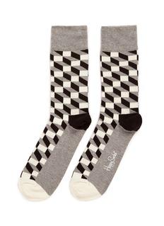 Happy SocksFilled optic line cube socks
