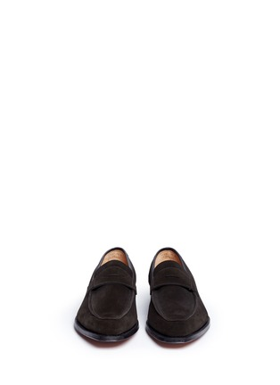 Front View - Click To Enlarge - George Cleverley - 'George' suede penny loafers