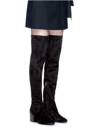Figure View - Click To Enlarge - Ash - 'Elisa' stretch faux suede thigh high boots