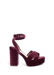 Ash'Boom' croc embossed velvet platform sandals