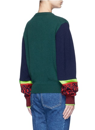 Back View - Click To Enlarge - TOGA ARCHIVES - Colorblock geometric intarsia wool blend sweater