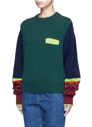 Front View - Click To Enlarge - TOGA ARCHIVES - Colorblock geometric intarsia wool blend sweater