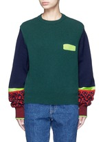 Colorblock geometric intarsia wool blend sweater