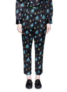 TOGA ARCHIVES Belted floral print duchesse satin pants