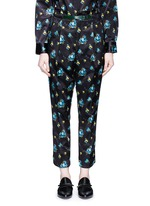 Belted floral print duchesse satin pants