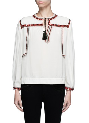 Main View - Click To Enlarge - Isabel Marant Étoile - 'Cabella' tassel tie ethnic embroidery top