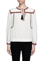 'Cabella' tassel tie ethnic embroidery top