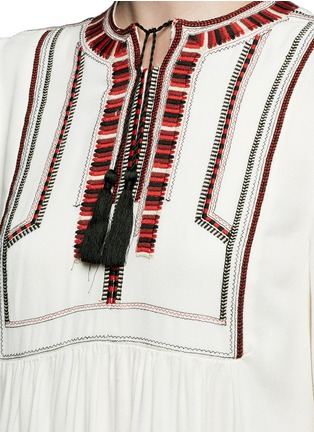 Detail View - Click To Enlarge - Isabel Marant Étoile - 'Clara' tassel tie ethnic embroidery crepe dress
