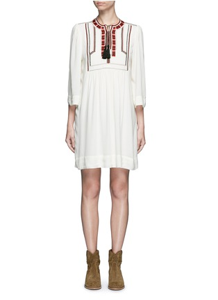 Main View - Click To Enlarge - Isabel Marant Étoile - 'Clara' tassel tie ethnic embroidery crepe dress