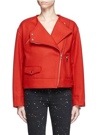 Main View - Click To Enlarge - Isabel Marant Étoile - 'Esther' felted virgin wool-cashmere biker jacket
