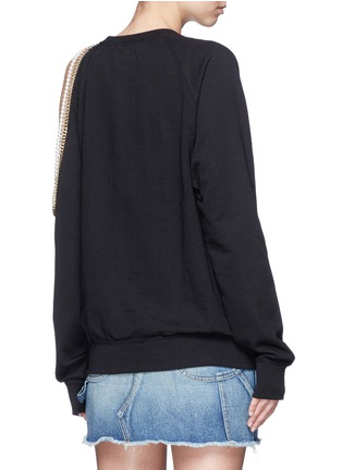 Back View - Click To Enlarge - Forte Couture - Embellished asymmetric cold shoulder sweatshirt