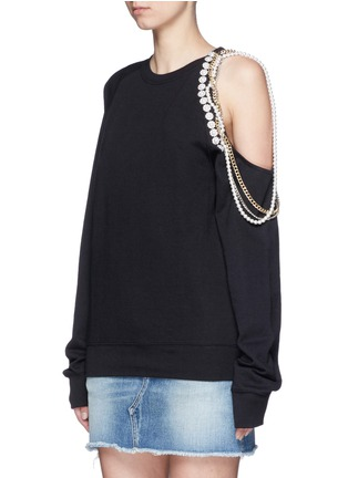 Front View - Click To Enlarge - Forte Couture - Embellished asymmetric cold shoulder sweatshirt